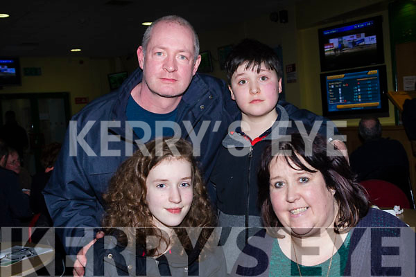 Having fun at the Kingdom Greyhound Stadium, Tralee last Friday night were Caroline, Helen, Karl&Jack Blanchfield from Currow.