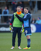 Goalkeeper / Coach Barry Richardson of Wycombe Wanderers & Matthew Bloomfield of Wycombe Wanderers before  the Sky Bet League 2 match between Wycombe Wanderers and Newport County at Adams Park, High Wycombe, England on 2 January 2017. Photo by Andy Rowland.
