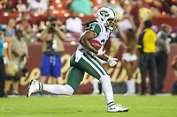 Landover, MD - August 16, 2018: New York Jets wide receiver Andre Roberts (3) runs the ball during the preseason game between New York Jets and Washington Redskins at FedEx Field in Landover, MD.   (Photo by Elliott Brown/Media Images International)