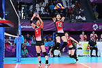 (L-R) <br />  Erika Araki, <br /> Miya Sato (JPN), <br /> SEPTEMBER 1, 2018 - Volleyball : <br /> Women's Bronze Medal match<br /> between Japan 1-2 Korea <br /> at Gelora Bung Karno Indoor Tennis Stadium <br /> during the 2018 Jakarta Palembang Asian Games <br /> in Jakarta, Indonesia. <br /> (Photo by Naoki Nishimura/AFLO SPORT)