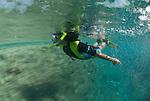 Drift snorkle in Clerke Reef channel.Rowley Shoals, Western Australia