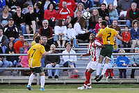 Zach Bauer #2, Luke Kreamalmeyer #7, Sullivan Silva...AC St Louis were defeated 1-2 by Austin Aztek in their inaugural home game in front of 5,695 fans at Anheuser-Busch Soccer Park, Fenton, Missouri.