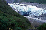 Meltwater stream emerging from the end of the Fox glacier, New Zealand