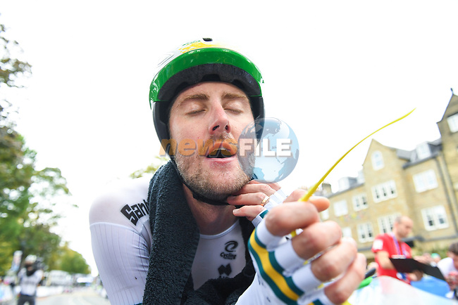 Luke Durbridge of Australia after crossing the finish line of the Men Elite Individual Time Trial of the UCI World Championships 2019 running 54km from Northallerton to Harrogate, England. 25th September 2019.<br /> Picture: Simon Wilkinson/SWpix.com | Cyclefile<br /> <br /> All photos usage must carry mandatory copyright credit (© Cyclefile | Simon Wilkinson/SWpix.com)