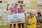 31.05.2015, Moskau, Vodny Stadion<br /> Moskau Grand Slam, Siegerehrung<br /> <br /> 2. Platz / Silber / Silbermedaille: Madelein Meppelink / Marleen van Iersel (NED)<br /> <br />   Foto &copy; nordphoto / Kurth