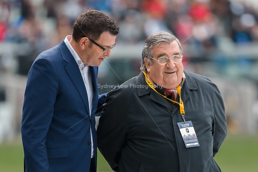 Melbourne, 17 July 2015 - The Premier of Victoria Daniel Andrews walks with Real Madrid 3rd Vice-President, Pedro Lopez Jimenez  at the Melbourne Cricket Ground ahead of their International Champions Cup match against AS Roma tomorrow in Melbourne, Australia. Photo Sydney Low/AsteriskImages.com