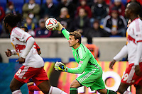Chivas USA goalkeeper Dan Kennedy (1) distributes the ball. The New York Red Bulls and Chivas USA played to a 1-1 tie during a Major League Soccer (MLS) match at Red Bull Arena in Harrison, NJ, on March 30, 2014.