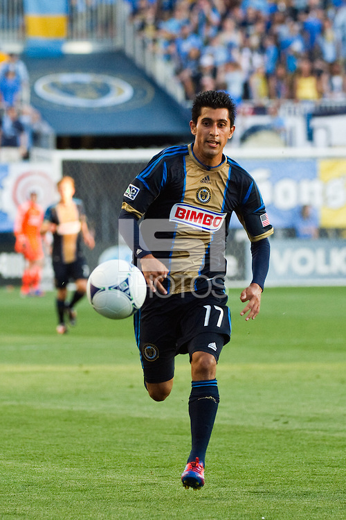 Josue Martinez (17) of the Philadelphia Union. DC United defeated Philadelphia Union 1-0 during a Major League Soccer (MLS) match at PPL Park in Chester, PA, on June 16, 2012.