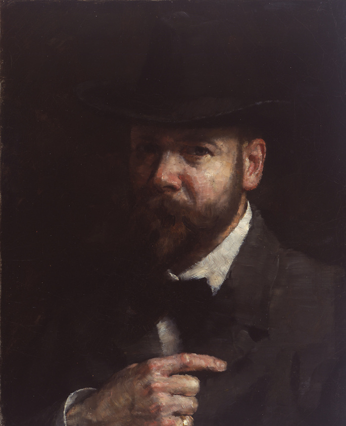 Oil on canvas on stretcher painting of Crone.  He gazes out at viewer but faces slightly to his right.  He wears a jacket, bow tie, and hat.  He is fully bearded.  His right hand rests on his torso.  Background is dark.<br /> <br /> Mirrored self-portrait; three-quarter view, facing left; showing full Vandyck, wide brimmed hat, bow tie, apparent left hand with ring on little finger.<br /> <br /> Signed, lower right, dark red &quot;S. H. Crone&quot;<br /> <br /> Stretcher:  top rail, small round, scalloped, red-bordered tag with &quot;41&quot;<br /> <br /> Identifier:  wh4<br /> Source:  TBD<br /> Type:  Oil Painting<br /> Format:  black and white tif, color tif<br /> Relation:  graphite study #94<br /> Coverage:  Europe, Germany, Berlin<br /> Date:  c. 1902<br /> Language:  English