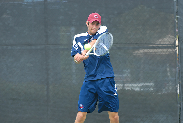 April 25, 2012; San Diego, CA, USA; Loyola Marymount Lions athlete Daniel Simko during the WCC Tennis Championships at the Barnes Tennis Center.
