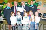 Chairman of Aer Arann Padraig O'Ceidigh wit the winners of the art competition to mark the launch of the Aer Arann Kerry Dublin flights. .Back L-R Karen McCarthy, Chairman of Kerry Airport Denis Cregan, Chairman of Aer Arann Padraig O'Ceidigh and Melanie Fitzgerald. .Front L-R Dominic Peters, Eamon O'Mahony, Meadhbh Daly, Clare McCarthy, Chloe O'Sullivan and Aoife Roche. .