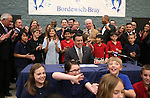 Lawmakers and students react as Gov. Brian Sandoval signs the school bond bill into law at a local elementary school in Carson City, Nev., on Wednesday, March 4, 2015. <br /> Photo by Cathleen Allison