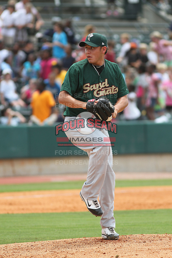 Savannah Sand Gnats relief pitcher Carlos Vasquez #31 on the mound during a game against the Charleston Riverdogs at Joseph P. Riley Jr. Park on May 16, 2012 in Charleston, South Carolina. Charleston defeated Savannah by the score of 14-5. (Robert Gurganus/Four Seam Images)