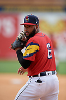 Toledo Mud Hens Ronny Rodriguez (6) during an International League game against the Durham Bulls on July 16, 2019 at Fifth Third Field in Toledo, Ohio.  Durham defeated Toledo 7-1.  (Mike Janes/Four Seam Images)