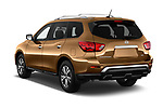 Car pictures of rear three quarter view of 2018 Nissan Pathfinder S 5 Door SUV Angular Rear