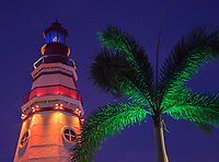Photographed at night famous landmark the Subic bay Lighthouse, Subic Bay,  Philippines