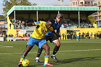 Scott Durojaiye of Haringey and Stuart West of Herne Bay during Haringey Borough vs Herne Bay, Emirates FA Cup Football at Coles Park Stadium on 7th September 2019