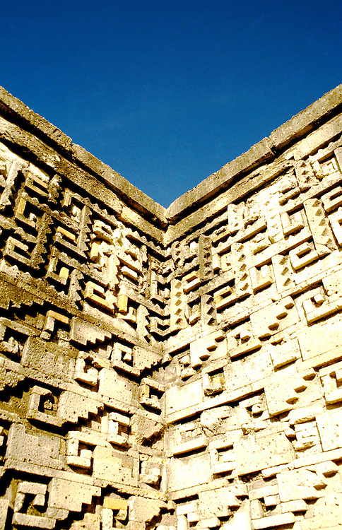 Mexico: Oaxaca..Mitla ruins, geometric design. .Photo Copyright Lee Foster, www.fostertravel.com. .Photo #: mxhuat104, 510/549-2202, lee@fostertravel.com