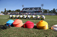 Cary, NC - Sunday October 22, 2017: Cones and balls prior to an International friendly match between the Women's National teams of the United States (USA) and South Korea (KOR) at Sahlen's Stadium at WakeMed Soccer Park. The U.S. won the game 6-0.