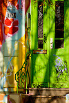 Painted green door.Hamburg, Germany