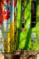 Painted green door.Hamburg, Germany