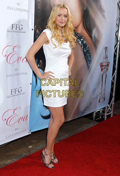"""HELENA MATTSSON.""""Eva"""" by Eva Longoria Fragrance Launch Event held at at Beso Hollywood, Hollywood, California, USA..April 27th, 2010.perfume full length white dress hands on hips .CAP/ADM/MJ.©Michael Jade/AdMedia/Capital Pictures."""
