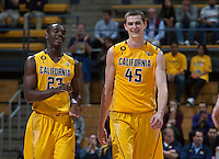 David Kravish of California shares some laughs with Jabari Bird of California during 2014 National Invitation Tournament against Arkansas at Haas Pavilion in Berkeley, California on March 24th, 2014.  California defeated Arkansas, 75-64.