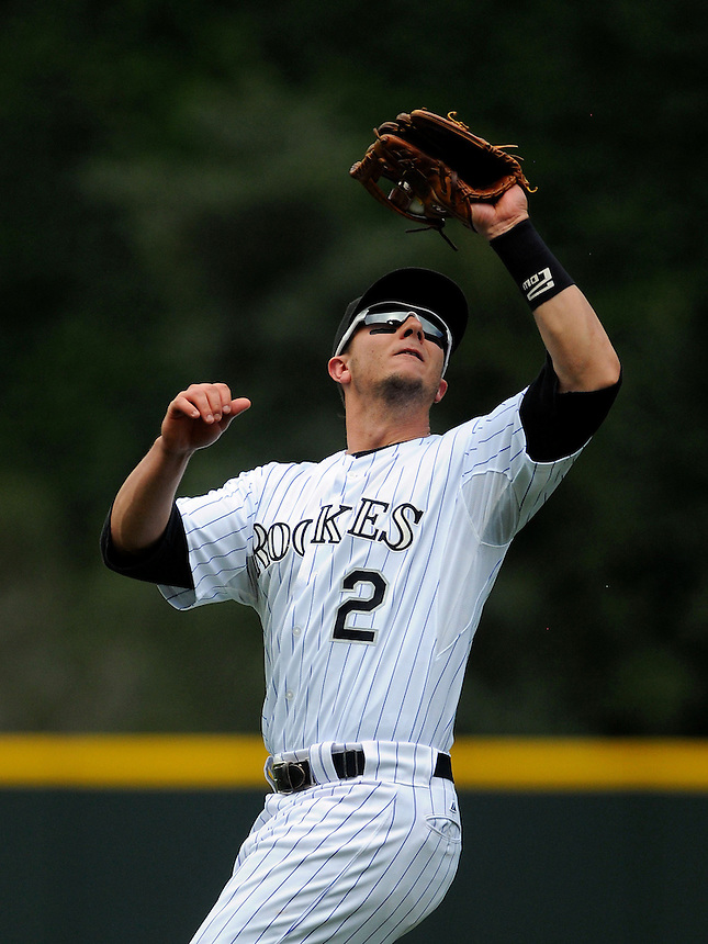 21 AUGUST 2011:  Colorado Rockies shortstop Troy Tulowitzki (2) catches a pop fly   during a regular season game between the Los Angeles Dodgers and the Colorado Rockies at Coors Field in Denver, Colorado. The Rockies beat the Dodgers 5-3. *****For Editorial Use Only*****
