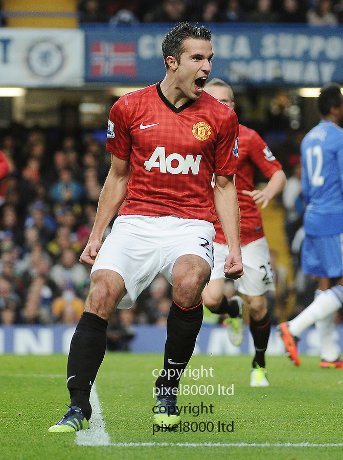 Robin van Persie of Manchester United celebrates the 2st goal during the Barclays Premier League match between Manchester United and Chelsea at Stamford Bridge on Sunday 28 October, 2012 in London, England. Picture Zed Jameson/pixel 8000 ltd.
