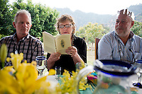 Mum reading from her book during Christmas lunch. Christmans with M&D, Johnny, Lucas, Felix and Annuska in San Jose, 2013.