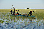 ZAMBIA Barotseland Mongu, Mulamba people travel by boat to harbour at river Zambezi floodplain / SAMBIA Barotseland , Stadt Mongu , Hafen Mulamba in der Flutebene des Zambezi Fluss