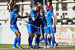 Jon-Paul Pittman of Grimsby Town (3rd left) celebrates scoring his team's second goal to make it 0-2 during the Vanamara Conference League match between Woking and Grimsby Town at the Kingfield Stadium, Woking, Surrey<br /> Picture by David Horn/eXtreme aperture photography +44 7545 970036<br /> 07/03/2015