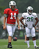Ryan Fitzpatrick #14, New York Jets quarterback, left, stands alongside running back #35 Dominique Williams during training camp at Atlantic Health Jets Training Center in Florham Park, NJ on Saturday, July 30, 2016.