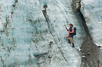 Glacier Guide cutting steps, Franz Josef glacier, New Zealand
