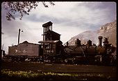 D&amp;RGW #464 K-27 in Durango with coaling tower in background.<br /> D&amp;RGW  Durango, CO