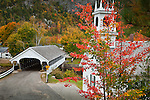 Fall foliage at the Stark Covered Bridge in Stark, NH, USA