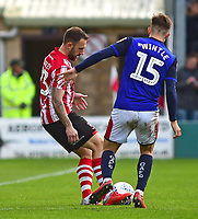 Lincoln City's Neal Eardley looks to turn Crewe Alexandra's Ryan Wintle<br /> <br /> Photographer Andrew Vaughan/CameraSport<br /> <br /> The EFL Sky Bet League Two - Lincoln City v Crewe Alexandra - Saturday 6th October 2018 - Sincil Bank - Lincoln<br /> <br /> World Copyright &copy; 2018 CameraSport. All rights reserved. 43 Linden Ave. Countesthorpe. Leicester. England. LE8 5PG - Tel: +44 (0) 116 277 4147 - admin@camerasport.com - www.camerasport.com