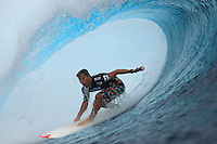ARITZ ARANBURU  (EUK)   TEAHUPOO, Tahiti (Monday, May 18, 2009) - The 2009 Billabong Pro Tahiti presented by Air Tahiti Nui continued today with the completion of Round Two and the first four heats of Round Three. Starting at 9 am the contest ran till dark in  a choppy 1.5 meter waves..It was a day of upsets when nine time World Champion KELLY SLATER (USA)  was eliminated by Basque surfer ARTIZ ARANBURU (EUK) and the defeat of current world #1 JOEL PARKINSON (AUS)  by tour veteran TAYLOR KNOX (USA) in the last heat of the day...The event is Stop No. 3 of 10 on the 2009 ASP World Tour and boasts a waiting period from May 9 through May 20, 2009..The contest brings together 45 of the world's best surfers charging the heaviest wave on earth in one of the most pristine locations on the planet..This year's event will run the new format, seeding all competitors directly into man-on-man elimination heats, with the Top 16 seeded directly into Round 2 while the remaining surfers battle it out in Round 1...Photo: joliphotos.com