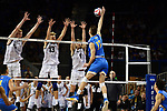 LOS ANGELES - MAY 5:  Kyle Ensing #5, Simon Anderson #13 and Bjarnes Huus #4 of the Long Beach State 49ers defend against Christian Hessenauer #17 of the UCLA Bruins during the Division 1 Men's Volleyball Championship on May 5, 2018 at Pauley Pavilion in Los Angeles, California. The Long Beach State 49ers defeated the UCLA Bruins 3-2. (Photo by John W. McDonough/NCAA Photos via Getty Images)