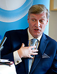 """Brussels-Belgium - May 23, 2017 -- Dr Theodore Roosevelt """"Ted"""" Malloch, an American academic, consultant and television producer, candidate to be nominated by the US-administration as its ambassador to the European Union, during a speech and discussion organised by Open Europe -- Photo: © HorstWagner.eu"""