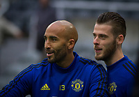 Goalkeeper David De Gea (right) & Goalkeeper Lee Grant of Man Utd pre match during the Premier League match between Newcastle United and Manchester United at St. James's Park, Newcastle, England on 6 October 2019. Photo by J GILL / PRiME Media Images.