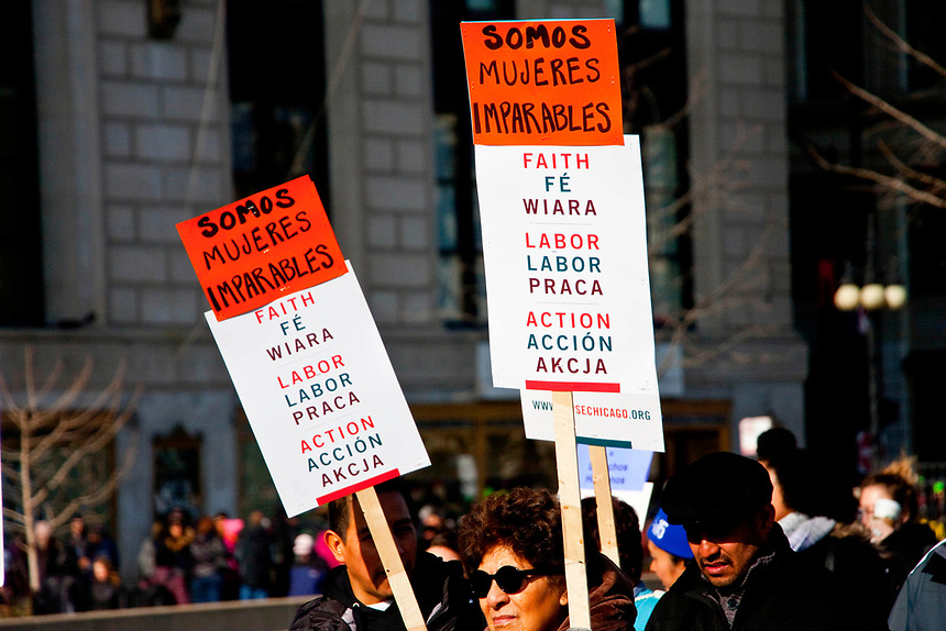 An estimated 300,000 people filled the streets of downtown Chicago to stand up for women and to protest what they call the Trump administration's attacks on women's bodies and rights.