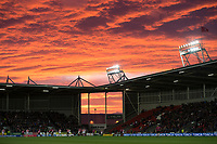 Picture by Allan McKenzie/SWpix.com - 06/04/2018 - Rugby League - Betfred Super League - St Helens v Hull FC - The Totally Wicked Stadium, Langtree Park, St Helens, England - A general view, GV, of St Helens playing Hull FC at Langtree Park under a dramatic sunset.