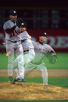 OAKLAND, CA - Roger Clemens of the New York Yankees in action in a multiple exposure during a game against the Oakland Athletics at the Oakland Coliseum in Oakland, California in 1999. Photo by Brad Mangin