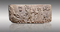 """Aslantepe Hittite Orthostat. Limestone, Aslantepe, Malatya, 1200-700 BC. Anatolian Civilizations Museum, Ankara, Turkey.<br /> <br /> Scene of offering drink and sacrifice. The god, with a symbol of divinity above, is in the chariot while holding a boomerang in his hand and a sword at his waist. The same god holds a lightning bundle in the middle. On the right, the king offers a drink to god. The inscription above reads """"Great, powerful King Sulumeli"""". A servant stands behind holding a bull for sacrifice to the gods. <br /> <br /> Against a gray background."""
