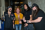 Carrot Top (real name Scott Thompson) with Vinnie Paul, Bob Zilla, and Greg Tribbett of Hellyeah at the Rock Vegas Music Festival at Mandalay Bay in Las Vegas, Nevada.
