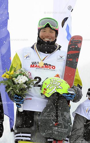 Gurimu Narita (JPN), MARCH 28, 2013 - Freestyle Skiing : Gurimu Narita of Japan celebrates after winning the FIS Freestyle Skiing Junior World Championships Men's Halfpipe in Valmalenco, Italy. (Photo by Hiroyuki Sato/AFLO)