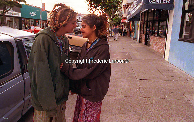 """Jazzy"" after running away from home (Sacramento) Jazimen Hernandez (15) returns to Haight Street with a boy friend after being missing from a month."