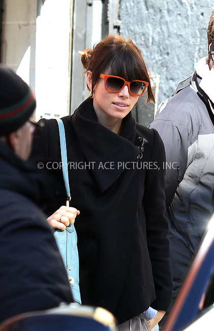WWW.ACEPIXS.COM . . . . .  ....February 23 2012, New York City....Actress Jessica Biel visited Justin Timberlake on a film set in Brooklyn on February 23 2012 in New York City....Please byline: Zelig Shaul - ACE PICTURES.... *** ***..Ace Pictures, Inc:  ..Philip Vaughan (212) 243-8787 or (646) 769 0430..e-mail: info@acepixs.com..web: http://www.acepixs.com