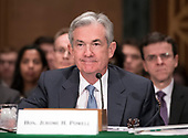 """Jerome H. Powell, Chairman, Board of Governors of the Federal Reserve System testifies before the United States Senate Committee on Banking, Housing, and Urban Affairs on """"The Semiannual Monetary Policy Report to the Congress"""" on Capitol Hill in Washington, DC on Thursday, March 1, 2018<br /> Credit: Ron Sachs / CNP"""